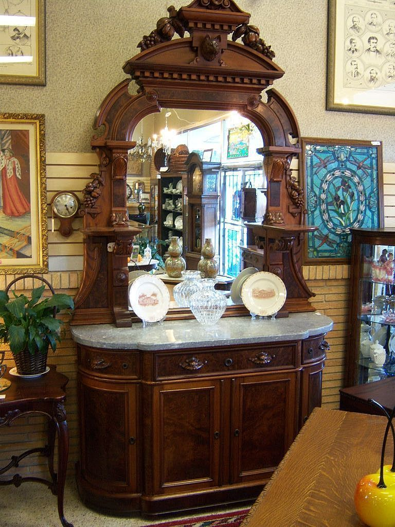 "Walnut Sideboard, Victorian Renaissance Revival, Marble Top Carved 9'5"" tall w/ Wolf Head"
