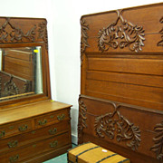 Oak Bedroom Set, High Back Bed, Dresser w/ mirror, Washstand, Heavy Carved