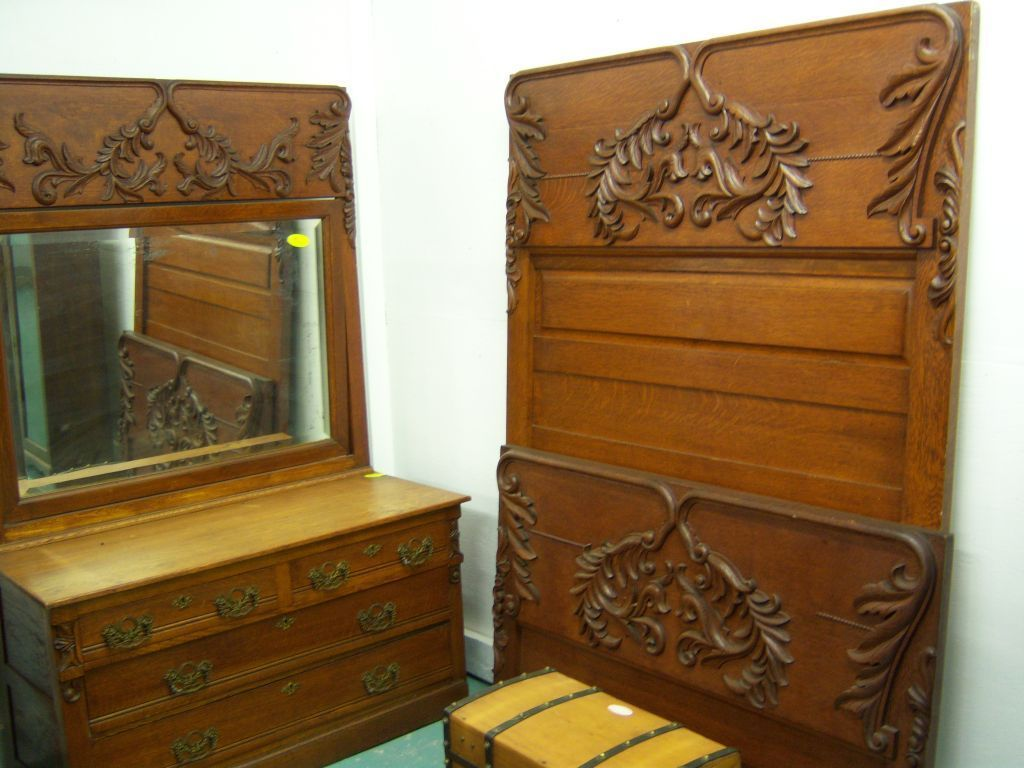 Oak Bedroom Set, High Back Bed, Dresser w/ mirror, Washstand ...