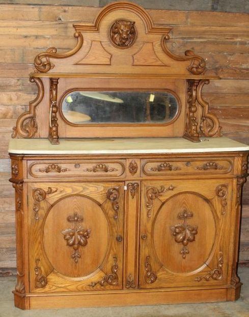 Sideboard Marble Top, Carved Lion Head, Victorian, Chestnut, Oval Mirror