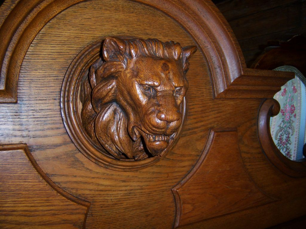 Sideboard Marble Top Carved Lion Head Victorian