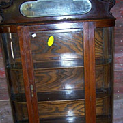 Oak Curved Glass China Cabinet