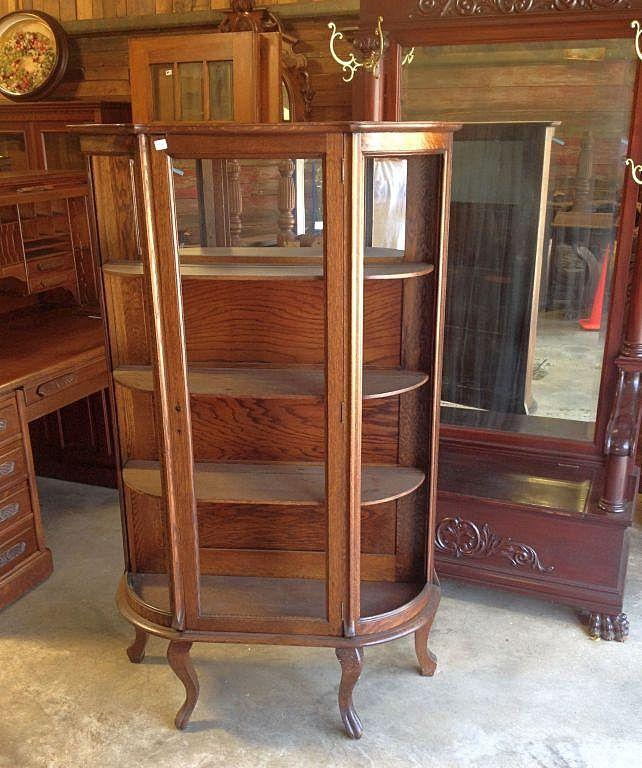 Oak Curved Glass China Cabinet, Paw Feet - Oak Curved Glass China Cabinet, Paw Feet From Robertsantiques On
