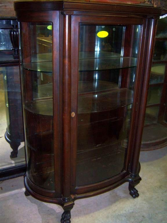 Mahogany curved Glass China Cabinet, Chippendale Federal Style : Roberts  Antiques | Ruby Lane - Mahogany Curved Glass China Cabinet, Chippendale Federal Style