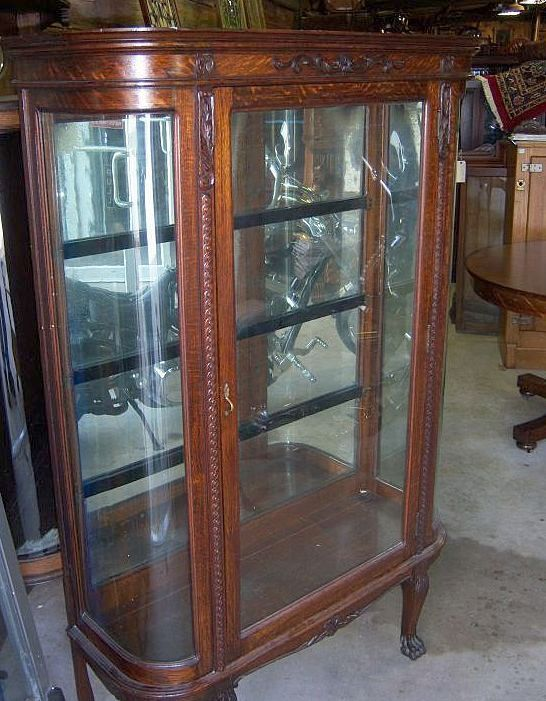 Oak Curved Glass China Cabinet, Carving - Oak Curved Glass China Cabinet, Carving From Robertsantiques On