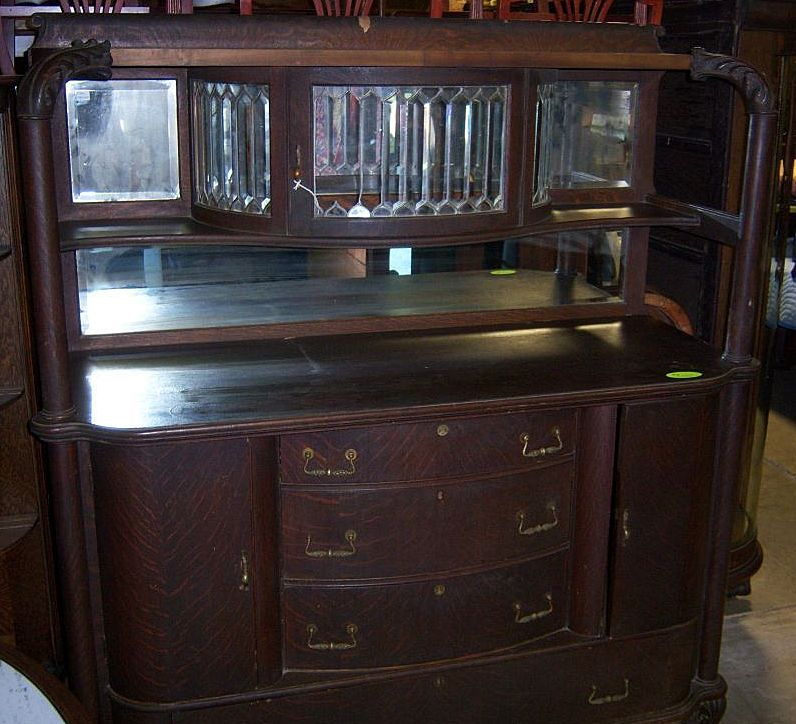 Oak Sideboard W Leaded Beveled Glass Upper China Cabinet