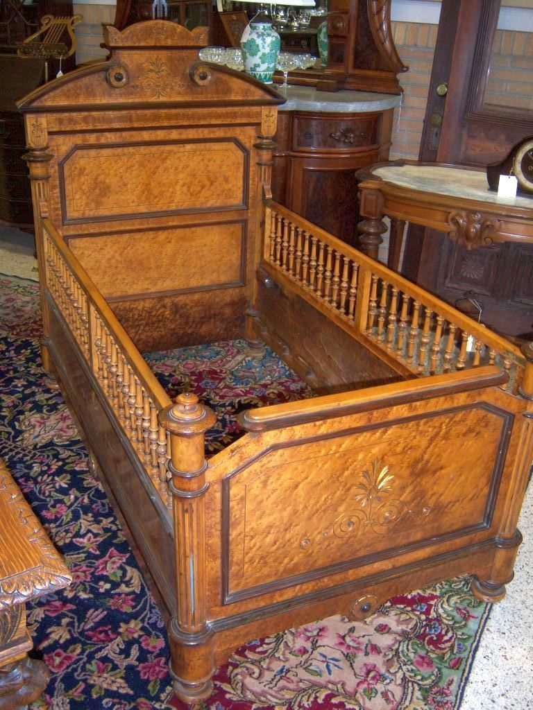 Birds Eye Maple, Renaissance Revival Youth Bed, Crib, Baby Bed,