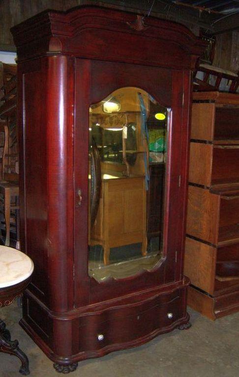 Mahogany Finish Armoire or Wardrobe, Single Door