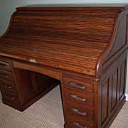 Oak Roll Top Desk, Full Fitted Interior, S Curve