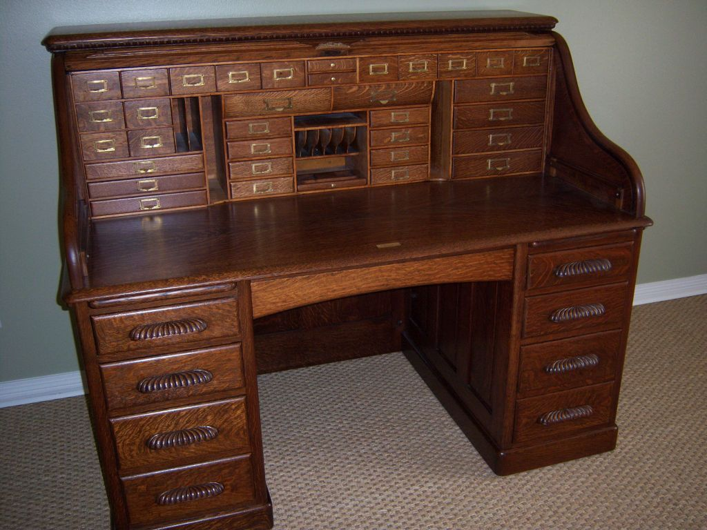 Roll over Large image to magnify, click Large image to zoom - Oak Roll Top Desk, Full Fitted Interior, S Curve From