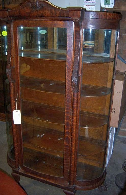 Oak Curved Glass China Cabinet with Columns and Claw Feet - Oak Curved Glass China Cabinet With Columns And Claw Feet From