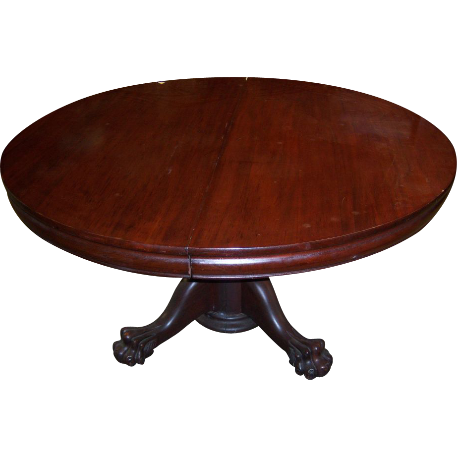 Mahogany Chippendale Style Round Dining Table 7 Leaves From Robertsantiques