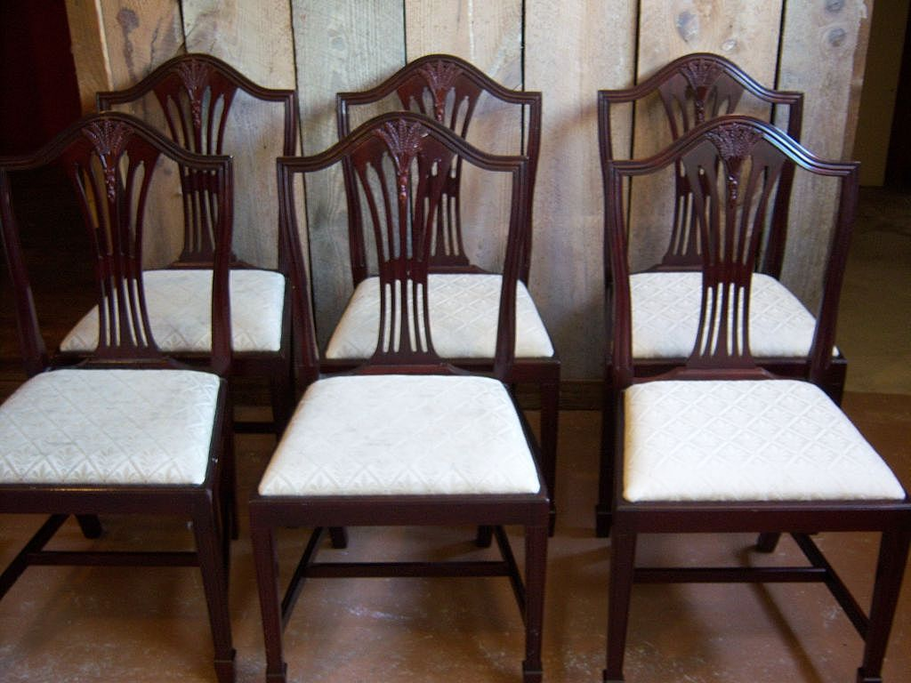 Mahogany dining chairs hepplewhite sheraton style set for Hepplewhite bedrooms