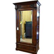 Walnut Eastlake Victorian Wardrobe, Single Beveled Mirror Door