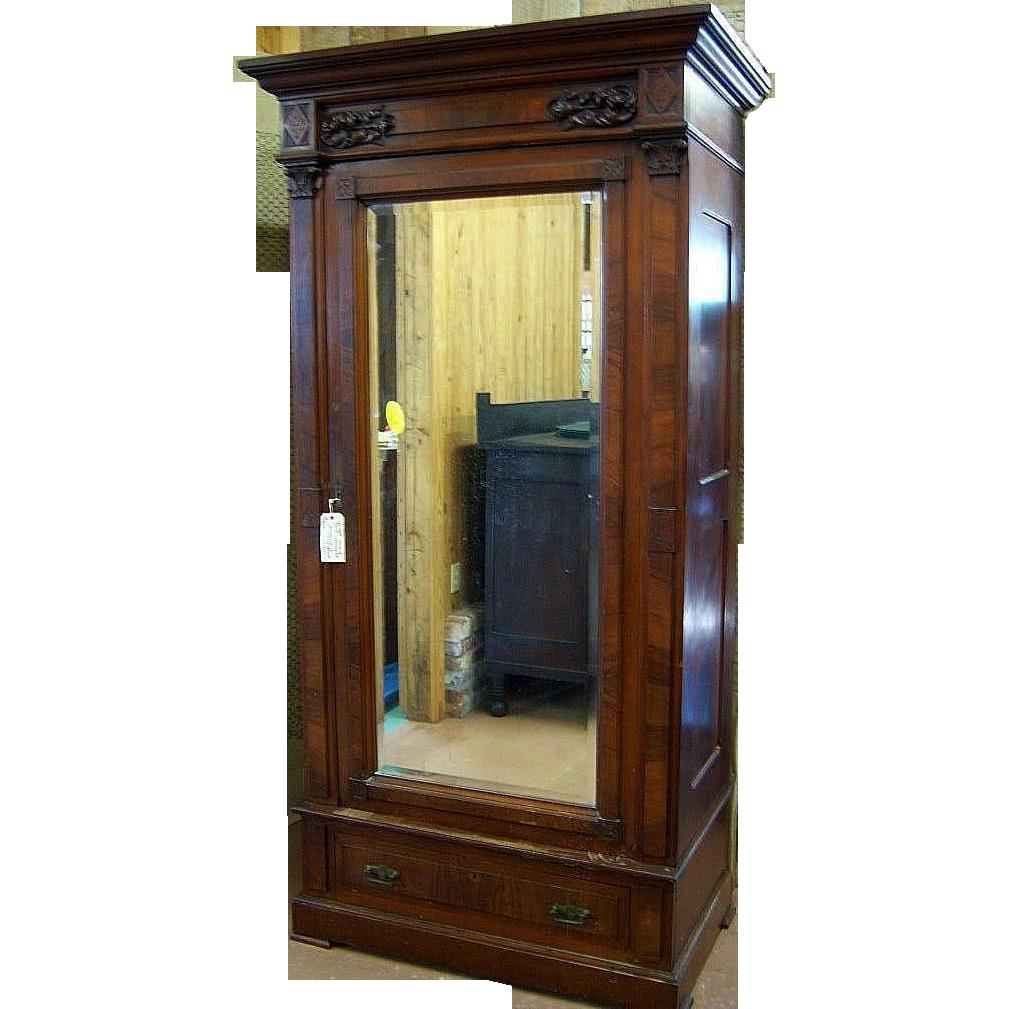 Walnut Eastlake Victorian Wardrobe, Single Beveled Mirror Door