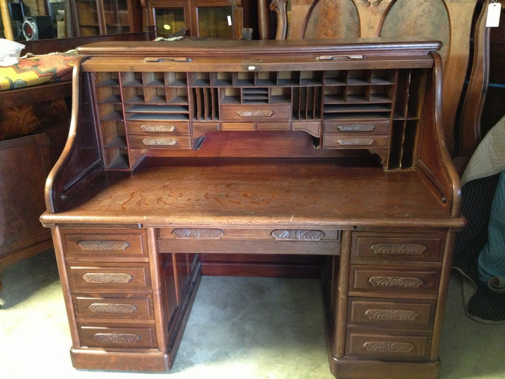 Roll over Large image to magnify, click Large image to zoom - Oak Roll Top Desk, S Curve, Carved Pulls, Raised Panels, 66 Inch