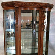 Oak Curved Glass China Cabinet, Carved Griffins