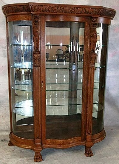 Oak Curved Glass China Cabinet, Carved Griffins from ...