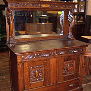 Oak Sideboard, Winged Griffins, Carving
