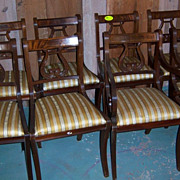 Mahogany Lyre Back Dining Chairs, Federal Sheraton Style, Set of 8