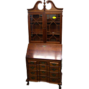 Chippendale Style Blockfront Secretary Desk w Bookcase Top, 20th c.