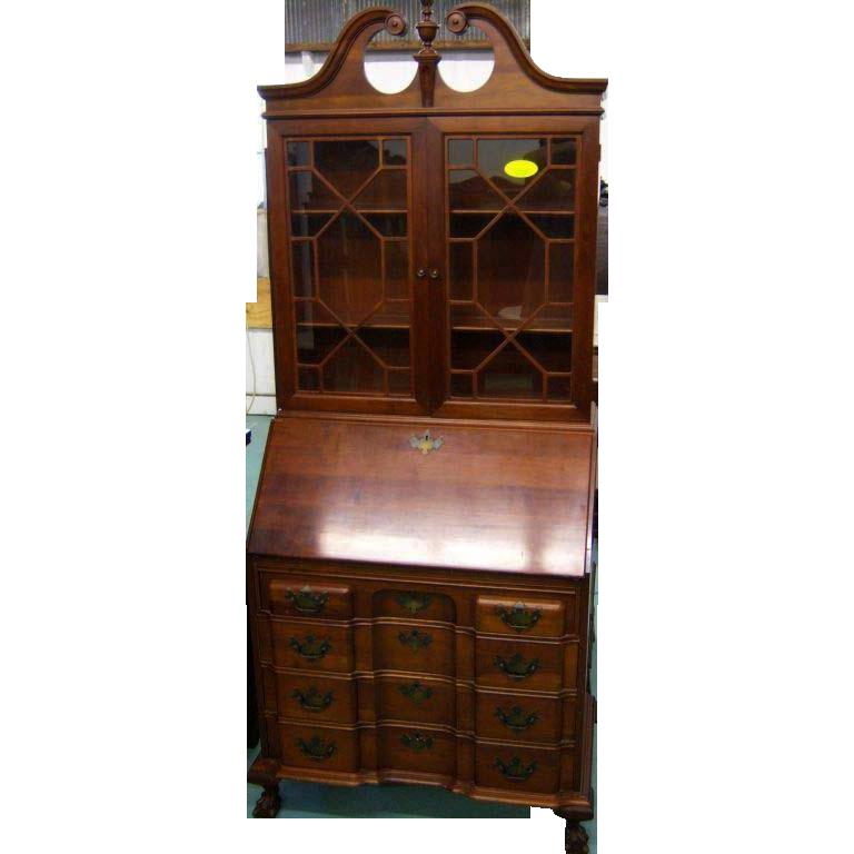 Chippendale Style Blockfront Secretary Desk W Bookcase Top