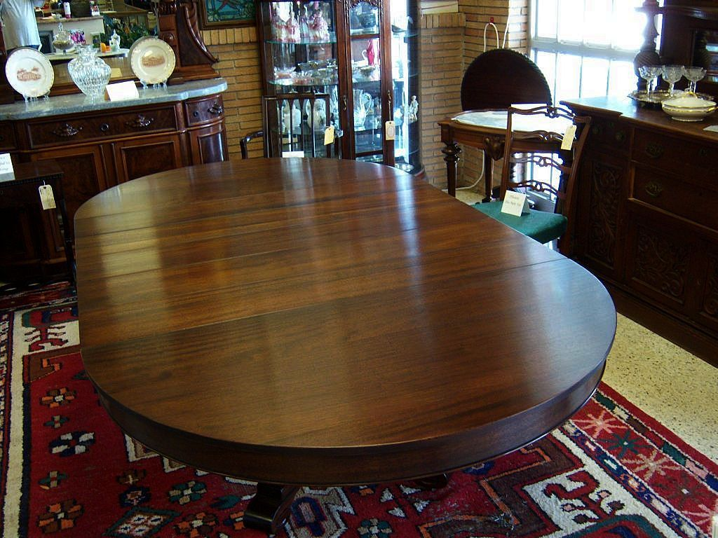Mahogany Dining Table Federal Empire Style 5 Leaves