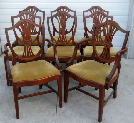 Mahogany Dining Chairs, Federal Hepplewhite Style, Set of 8 : Roberts  Antiques | Ruby Lane - Mahogany Dining Chairs, Federal Hepplewhite Style, Set Of 8