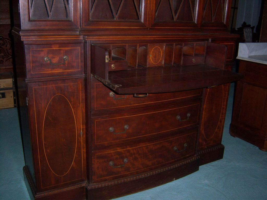 Roll over Large image to magnify, click Large image to zoom - Mahogany Breakfront China Cabinet With Butlers Desk,Federal From