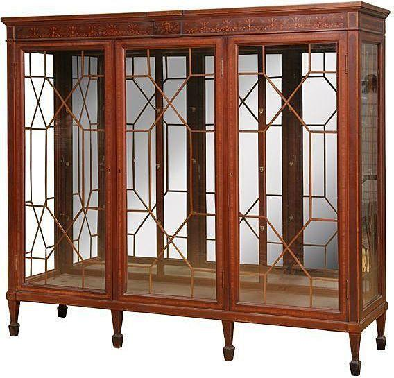 Mahogany China Cabinet or Bookcase, Inlaid Marquetry, Three Door ...