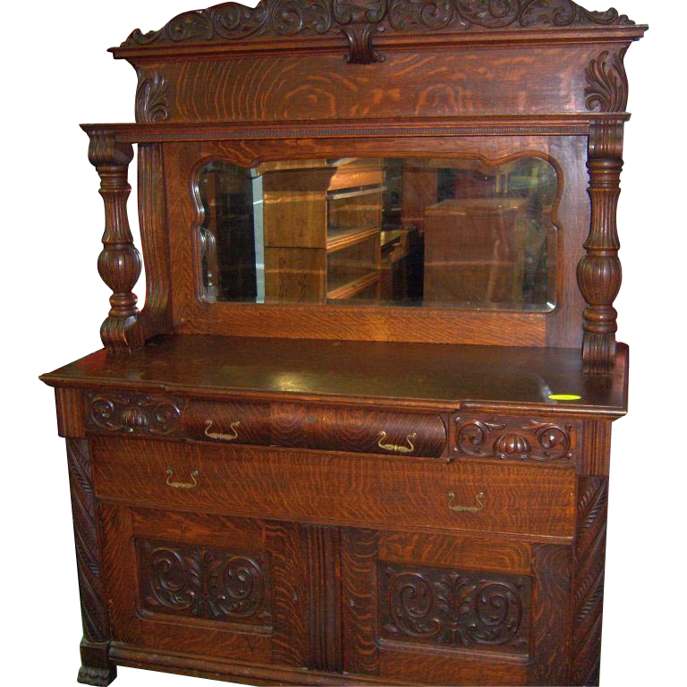 Oak Sideboard Buffet Mirror And Carvings 1890 Roberts Antiques Ruby Lane