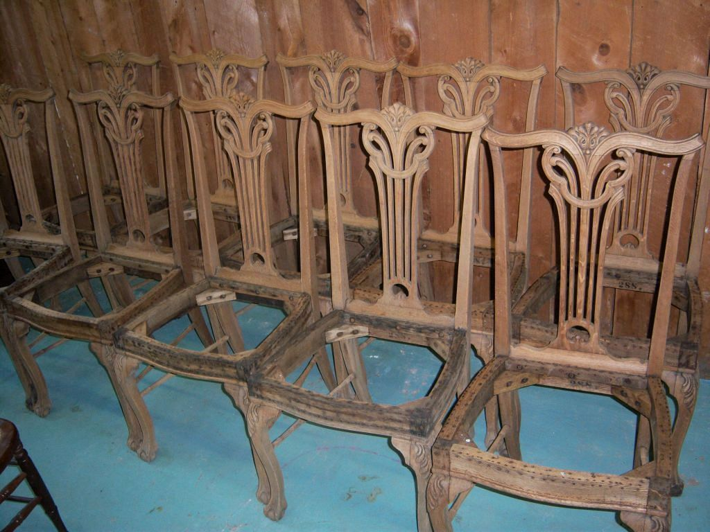 Oak Dining Chairs, Upholstered Seats, Chippendale Design, Set of ...