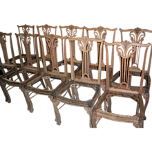 Oak Dining Chairs, Upholstered Seats, Chippendale Design, Set of 10
