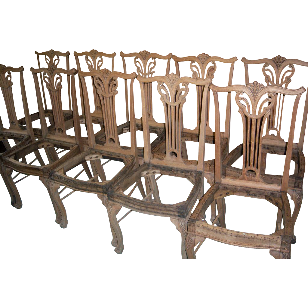 oak dining chairs upholstered seats chippendale design set of 10