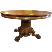 Oak Dining Table, Paw Foot, Pedestal, 54 inch, 6 Leaves