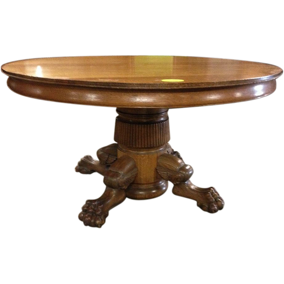 Oak dining table paw foot pedestal 54 inch 6 leaves for Pedestal dining table