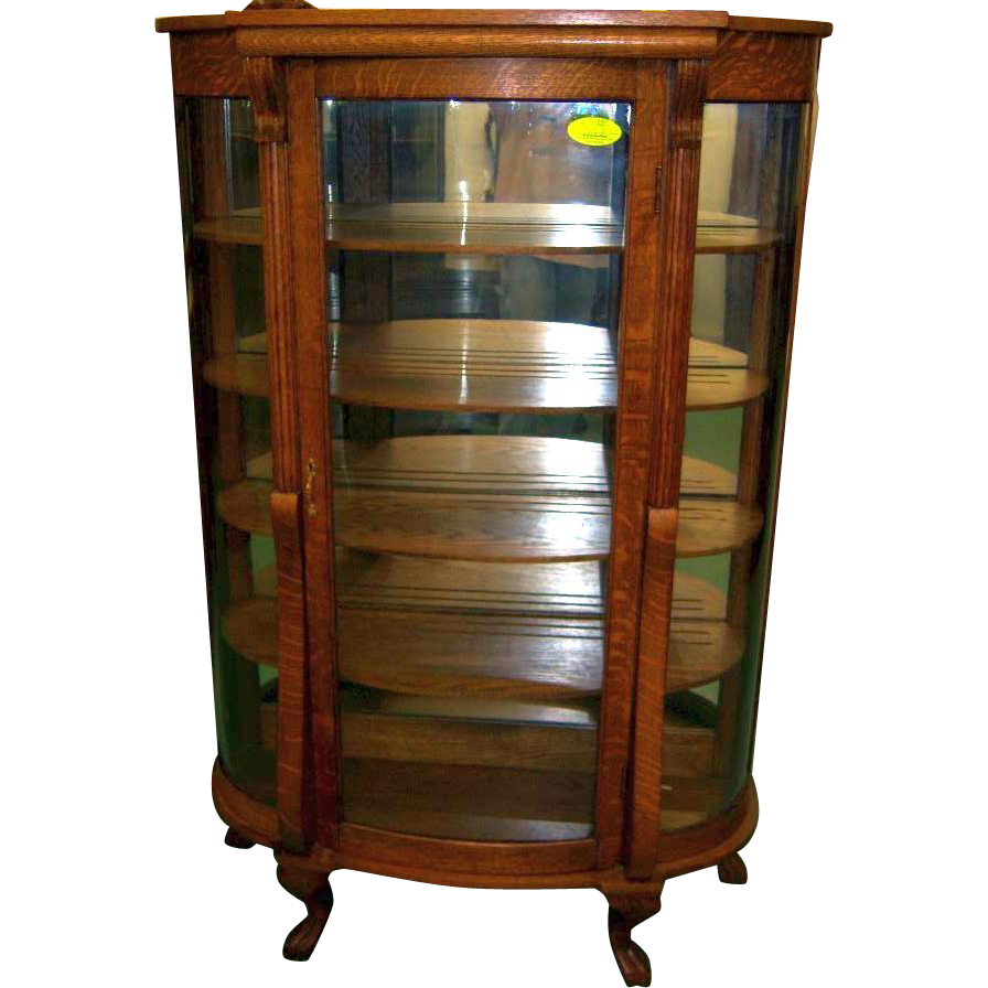 oak curved glass china or curio cabinet