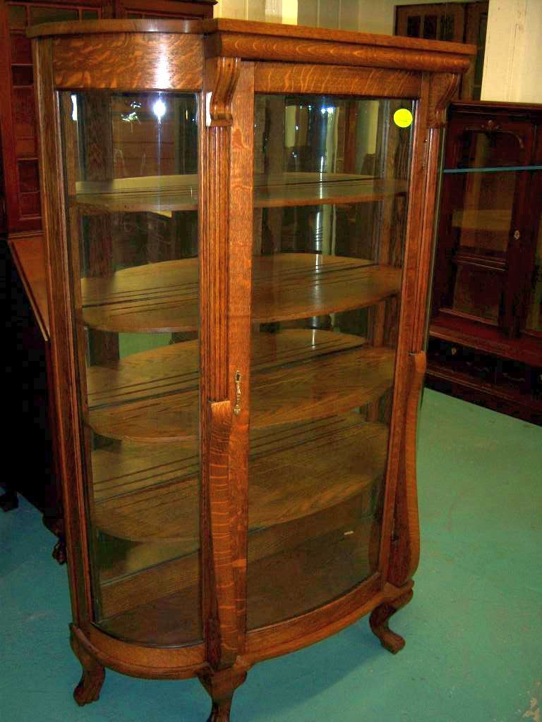Oak Curved Glass China Or Curio Cabinet From