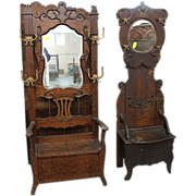 Oak Hall Tree or Hall Seat with Mirror and Lift Top Seat