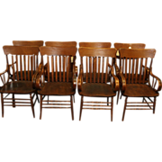 Oak Heywood Wakefield Arm Chairs Set of 8