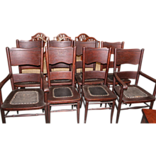 Oak Dining Chairs, Set of 8