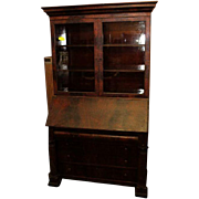 Mahogany Secretary Desk with Bookcase Federal Empire Style