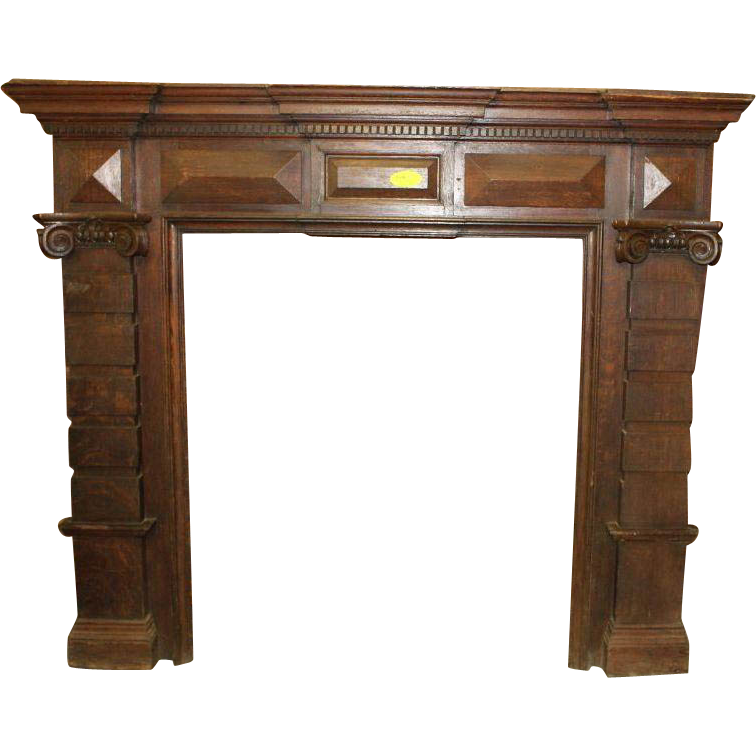 Oak Fireplace Mantle Stepped Pilasters with Corinthian Caps