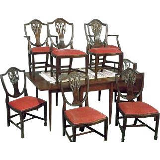 Sheraton, Hepplewhite, Federal Style Dining Chairs Set of 8