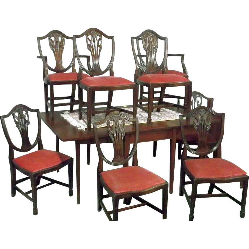 Bench Style Dining Sets: Sheraton, Hepplewhite, Federal Style Dining Chairs Set Of