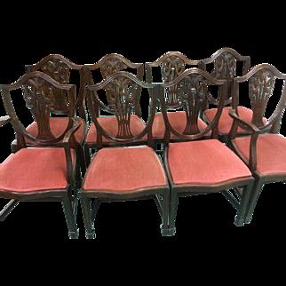 Mahogany Dining Chairs Federal Hepplewhite Sheraton Style Set of 8