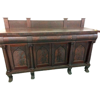 Mahogany Empire Style Sideboard Gothic Arched Door Panels