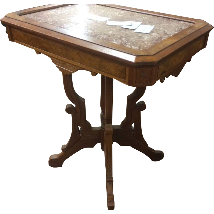 Walnut Victorian Lamp Table, Center Table, Foyer Table