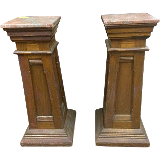 Pine early marble top pedestals