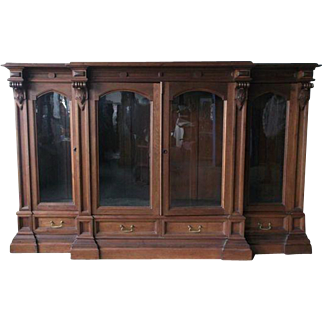 Walnut Four Door Victorian Library Bookcase